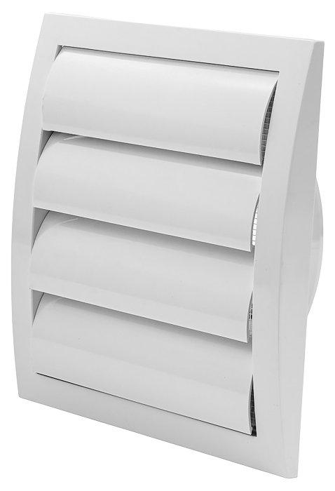 Kanalrist Ø125 mm med modtryk 19x19 cm hvid