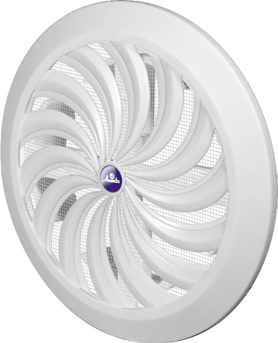 Kanalrist Ø100-150 mm med net & lukke. Ø18 cm hvid