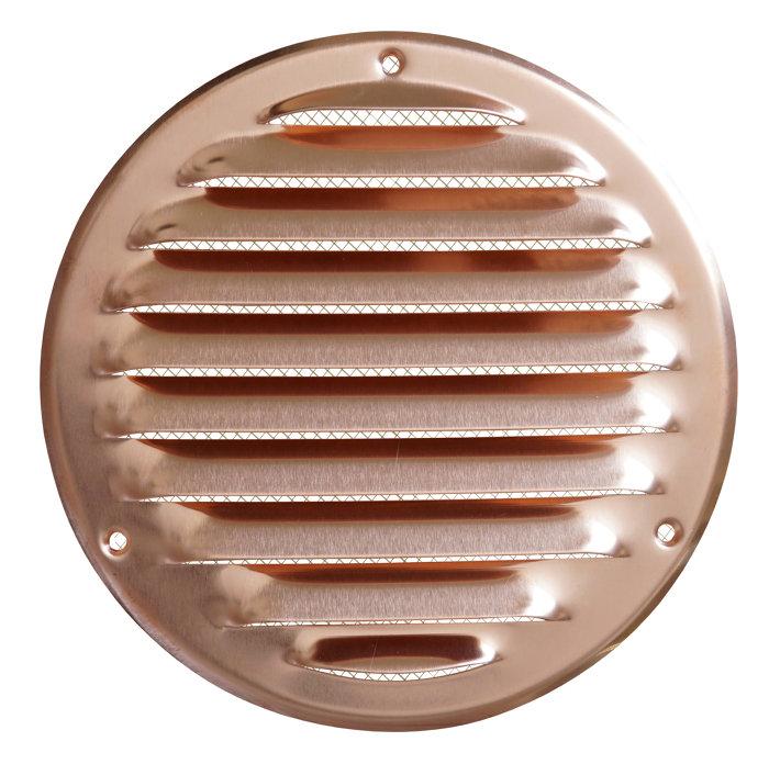 Veggrist med netting Ø165 mm - metall kobber