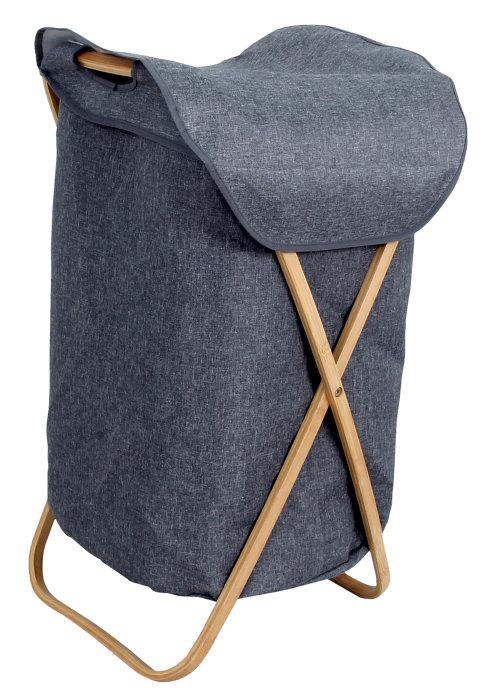 Vasketøjskurv stof/bambus 40 x 46 x 68 cm