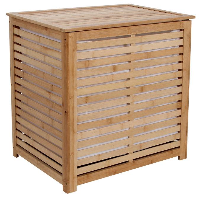 Vasketøjskurv dobbelt i bambus 60 x 40 x 58 cm
